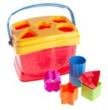 Childs Spielzeug-Formsorter auf Hintergrund Childs Spielzeug-Formsorter auf einem Hintergrund Stockbild