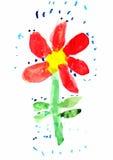 Childs teckning av blomman Royaltyfri Bild