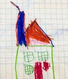 Childs teckning av det färgglade huset Fotografering för Bildbyråer