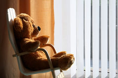 Childs Teddy Bear relaxing in the sunshine. Childrens toy teddy bear relaxing in the sun in a comfortable chair Royalty Free Stock Photos