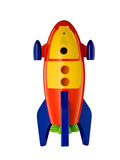 Childs toy rocket on white background. Childs toy rocket isolated on white background royalty free stock photo