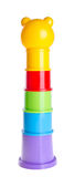 Childs toy stacking cups on background Royalty Free Stock Images
