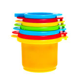 Childs toy stacking cups isolated Stock Photos