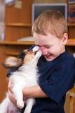 childs vänder att slicka valpen mot Royaltyfri Fotografi