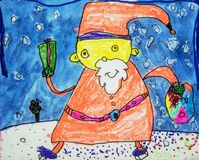 Childs vattenfärgteckning av Santa Claus Arkivbild