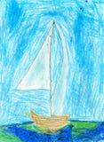 Childs-Zeichnung des Segelboots, Ölkreiden lizenzfreies stockfoto