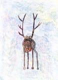 Childs-Zeichnung eines einsamen Rotwilds Lizenzfreie Stockfotos