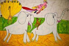 Childs-Zeichnung - Elefanten Lizenzfreie Stockfotos