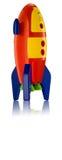 Childsstuk speelgoed raket op witte achtergrond Stock Foto