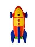 Childsstuk speelgoed raket op witte achtergrond Royalty-vrije Stock Foto