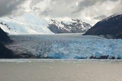 Chile - Amalia Glacier In om den molniga dagen arkivfoto