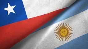 Chile and Argentina two flags textile cloth, fabric texture. Chile and Argentina flags together textile cloth, fabric texture vector illustration