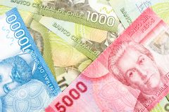 Chile bank notes. Chile bank paper money notes royalty free stock photo