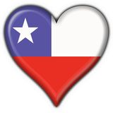Chile button flag heart shape Royalty Free Stock Image