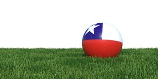 Chile Chilean flag soccer ball lying in grass world cup 2018. Isolated on white background. 3D Rendering, Illustration Stock Photography