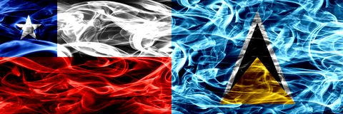 Chile, Chilean vs Saint Lucia smoke flags placed side by side. Concept and idea flags mix. Chile, Chilean vs Saint Lucia smoke flags placed side by side royalty free illustration