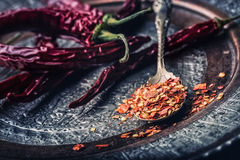 Chile Chili Peppers Varias pimientas de chiles secadas y las pimientas machacadas en una cuchara vieja se derramaron alrededor In Imágenes de archivo libres de regalías