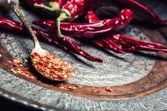 Chile Chili Peppers Varias pimientas de chiles secadas y las pimientas machacadas en una cuchara vieja se derramaron alrededor In imagen de archivo libre de regalías