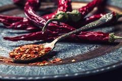 Chile Chili Peppers Varias pimientas de chiles secadas y las pimientas machacadas en una cuchara vieja se derramaron alrededor In Fotografía de archivo libre de regalías