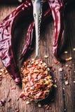 Chile Chili Peppers Varias pimientas de chiles secadas y las pimientas machacadas en una cuchara vieja se derramaron alrededor In Imagen de archivo