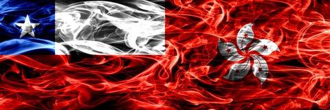 Chile, chilijczyk vs Hong Kong, Chiny dymu flaga umieszczająca strona strona - obok - Pojęcia i pomysłu flag mieszanka royalty ilustracja