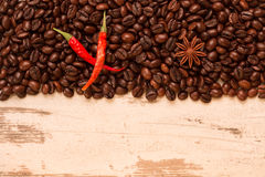 Chile, with coffee beans on a light background royalty free stock images