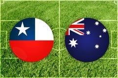 Chile contra partido de fútbol de Australia Foto de archivo libre de regalías