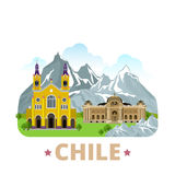 Chile country design template Flat cartoon style w. Chile country badge fridge magnet design template. Flat cartoon style historic sight showplace web site Stock Photography