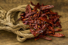 Chile de arbol. Chile de árbol is the name of a dried spicy chile, used in different cultures as part of their gastronomy Royalty Free Stock Photo