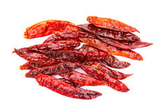 Chile de arbol seco dried hot Arbol pepper. On white background Royalty Free Stock Photo