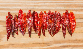 Chile de arbol seco dried hot Arbol pepper. On wooden background Stock Image
