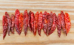 Chile de arbol seco dried hot Arbol pepper. On wooden background Royalty Free Stock Photography