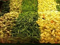 Chile del amarillo del chile del verde de Tomatillo Fotografía de archivo