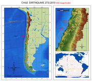 Chile Earthquake 2010 Map. A series of maps about the 8.8 magnitude earthquake from Chile (27 february 2010), from Maule offshore (near Concepcion city Stock Photo