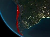 Chile en la noche de la órbita ilustración del vector