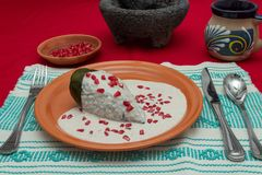 Chile en Nogada is a traditional mexican dish. Poblano pepper st. Uffed with ground meat, covered in walnut cream and pomgrenade seeds stock photography