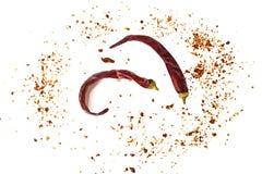 Chile, escamas de pimienta roja, granos y polvo de chile Foto de archivo libre de regalías