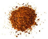 Chile, escamas de pimienta roja, granos y polvo de chile Imagen de archivo libre de regalías