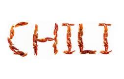 Chile escrito usando los chiles secados. Imagen de archivo