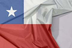 Chile fabric flag crepe and crease with white space. Chile fabric flag crepe and crease with white space, a horizontal bicolor of white and red with the blue royalty free stock photography