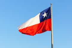 Chile Flag. And clear blue sky background Royalty Free Stock Image