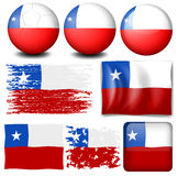 Chile flag in different designs Stock Photography