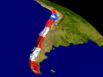 Chile with flag on Earth Stock Image