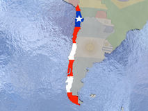 Chile with flag on globe Royalty Free Stock Image