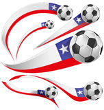 Chile flag  with soccer ball. Isolated on white background Stock Photos