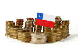 Chile flag with stack of money coins. Chile flag waving with stack of money coins Stock Photos
