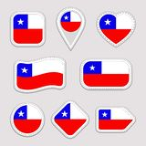 Chile flag vector set. Chilean flags stickers collection. Isolated geometric icons. National symbols badges. Web, sport page, patr vector illustration
