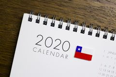 Chile flaga na 2020 kalendarzu ilustracja wektor