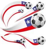 Chile flagga med fotbollbollen Arkivfoton