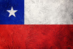 chile flaggagrunge Chilensk flagga med grungetextur Royaltyfri Bild